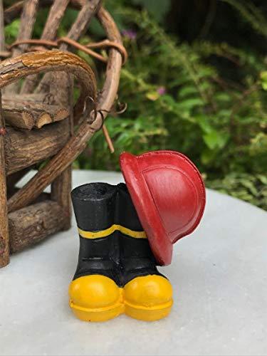 Miniature Dollhouse Fairy Garden ~ Mini Fire Fighter Fireman Helmet & Boots