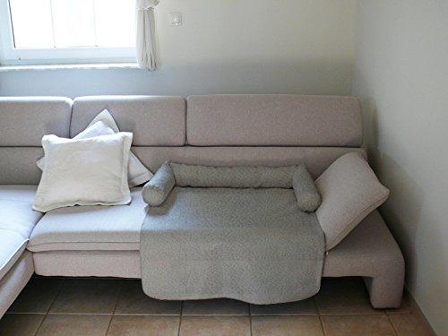 MILA Schlafplatz Hundebett Couch Sesselschutz Sofaschutz Alcantara Größen: S-XL (M - 70x90cm, GRAU)