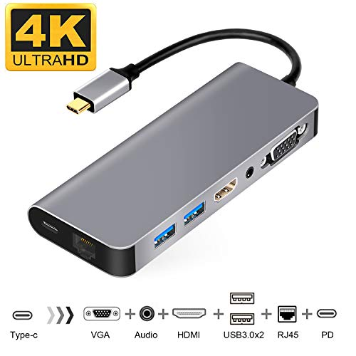 WU-MINGLU USB C Ethernet HDMI Adapter Samsung Dex Station für Samsung S8/S8+/S9/Note8,Typ C zu 4k HDMI RJ45 VGA 2*USB 3.0 Power Delivery Audio,Thunderbolt 3 Hub für MacBook/MacBook Pro und mehr