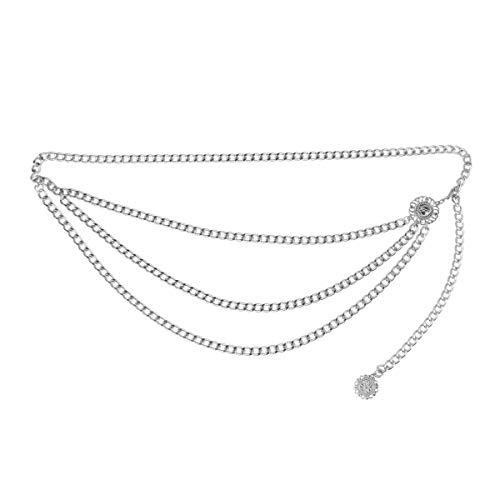 CHICTRY Damen Kettengürtel Taillengürtel moderne metall Taillen Kette Gürtel mit Münze Quaste Tanzen Körper Kette elegantes Design Gold Silber Silber Einheitsgröße