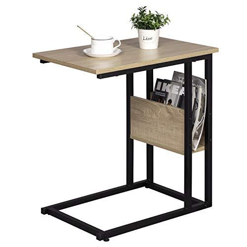 eSituro Tavolino da Salotto Piccolo Tavolino da Appoggio da Divano Porta TV Riviste Design Industriale Moderno Struttura in Ferro SCD0081