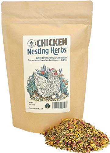 Happy Trees Chicken Nesting Herbs - 100% Natural Blend of 7 Premium Dried Herbs for Fresh Nest Box, Coop and Run - Fully Compostable Bag - 8oz.