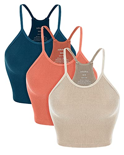 ODODOS Women's Crop 3-Pack Washed Seamless Rib-Knit Camisole Crop Tank Tops, Beige Coral Teal, Medium/Large