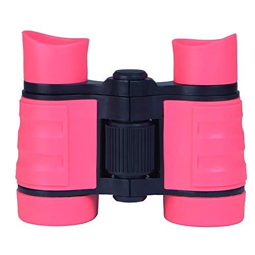 Prismáticos juguete de goma ajustable Mini ligeros Prismáticos binoculares compactos para niños para los niños Telescopio Juguetes regalos educativos Niños rosa