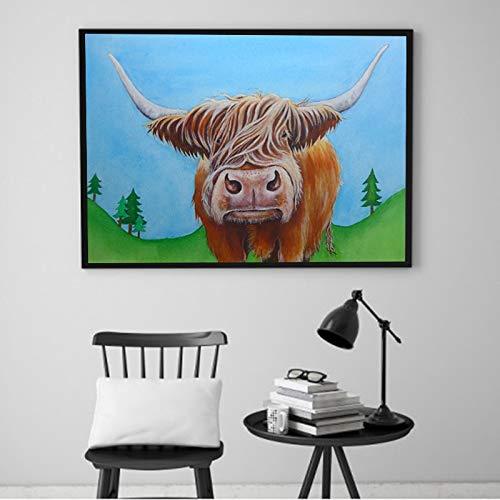 YuanMinglu Rahmenlose malerei hochland abstrakte Tier Kuh Wand Wohnzimmer leinwand malerei wandkunst druckplakat 30X40 cm