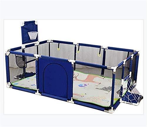 Corralito Grande para Bebés, Parque Infantil Portátil, Rectángulo, Patio De Juegos para Niños Pequeños, con Malla Transpirable, Juegos En Interiores Al Aire Libre, Azul