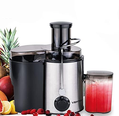 VEATON Centrifuga Frutta e Verdura, Estrattore di Succo a 65MM Bocca, Acciaio Inossidabile a Usi Alimentari senza BPA, Funzione Antigoccia, Facile da Pulire