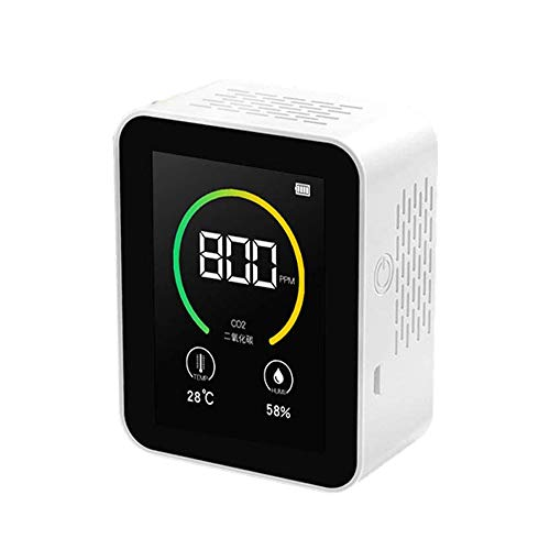 Vogvigo Monitor Portátil de Calidad del Aire, Detector de Dióxido de Carbono CO2,Probador de Gas de Aire Inteligente Multifuncional 5 en 1 CO2/ HCHO/CO/TVOC/AQI, Datos del Sensor de Contaminación