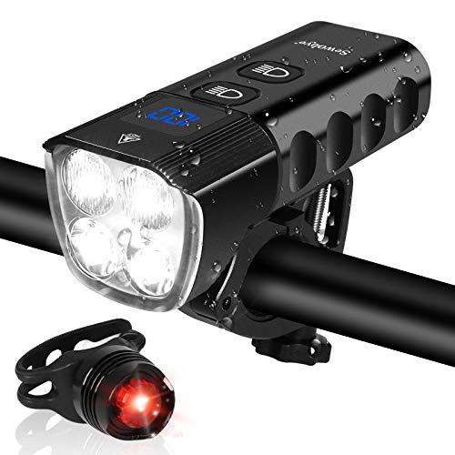 SEWOBYE Pro100 Luci Bici LED Ricaricabili, 2000 Lúmenes Super Luminoso Luce Bici con Display a LED, 6400 mAh Batteria Grande Luci Bicicletta LED Anteriore e Posteriore per MTB, Bici da strada e E-bike