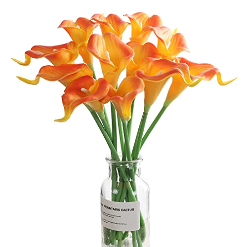 huaao 12pcs Lirios de Cala Flores Artificiales en Latex, Flores Falsos Realista Decoración Aniversario, Matrimonio, Boda, Hogar, Fiesta, Oficina, Arreglos Florales, Bouquets Flor Nupcial, Naranja