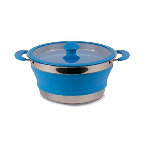 Falttopf faltbarer Topf leicht Silikon und Stahl Kochtopf in blau 3 Liter mit Glasdeckel Griffen - Kochgeschirr faltbar Camping Geschirr Outdoor Küche 3L - besonders platzsparend Rostfreier Stahl.