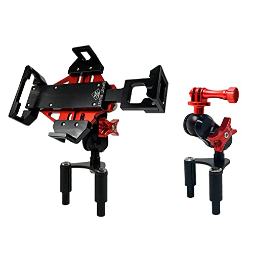WINDFRD Motorcycle Phone Action Camera Mount Holder for Ducati Panigale V4 V2 1199 1299 959 939(Super Sport/S) 899 848 Adjustable Size Fixing Device (Red)