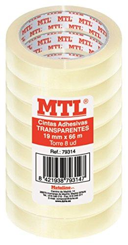 MTL 79314 - Pack de 8 cintas adhesiva, 19 mm x 66 m