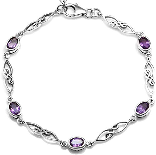 Silvershake 1.95ct. Natural Amethyst White Gold Plated 925 Sterling Silver Celtic Knot 7.25 to 8.75 Inch Adjustable Bracelet