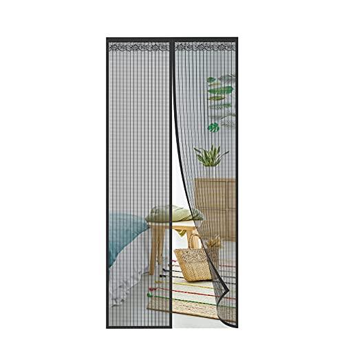 SHAWE Moustiquaire à Fermeture Aimantée 120x220CM, Maille Ultra Fine, Velcro Bande adhésives Moustiquaire Sur Mesure de Porte Rideau de Porte Antimoustique Pour Couloirs Portes Patio- Noir