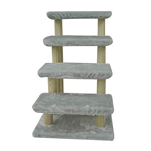HAIBEIR Haustiertreppe aus Holz, 4-stufig, für Katzen, Hunde, mit abnehmbarem Teppich, für Hochbett und Couch