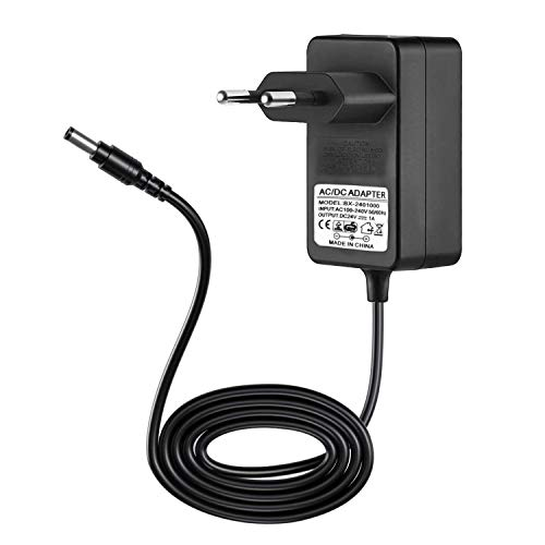 JRing Netzteil 24V DC 1A, EU-Plug 5,5/2,1mm, 24W Stecker-Netzteil für Radiowecker, LED-Strip Streifen, Speedport, Lichtleisten, USB-Hub, Switch, Router/Eingang 110-240V AC
