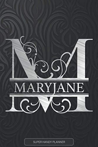 Maryjane: Monogram Silver Letter M The Maryjane Name - Maryjane Name Custom Gift Planner Calendar Notebook Journal