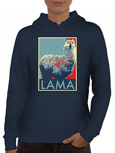 Lama Graffiti Hoodie für Frauen im Schablonen Streetart Style für Lama Alpaka Freunde, Größe: S,Navy