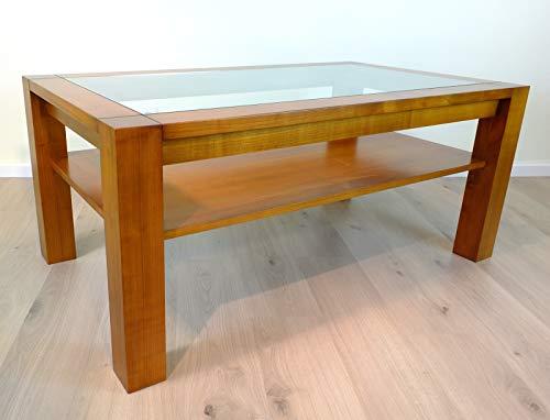 Vinkelau Massivholzmöbel Couchtisch/Wohnzimmertisch/Sofatisch - Modell Coesfeld mit Glasplatte und Ablageboden 130 x 75 cm Höhe 57 cm, der Moderne Masstisch in Kirschbaum vollmassiv