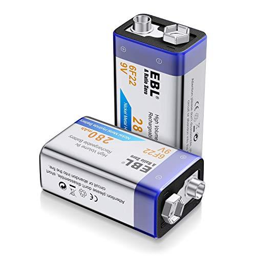 EBL 9V Pilas Recargables 280mAh NiMH Precargada Baja Autodescarga 1200 Ciclos Larga Duración para Microfono Inalambrico Alarmas de Humo Dispositivos Médicos Juquetes y Relojes