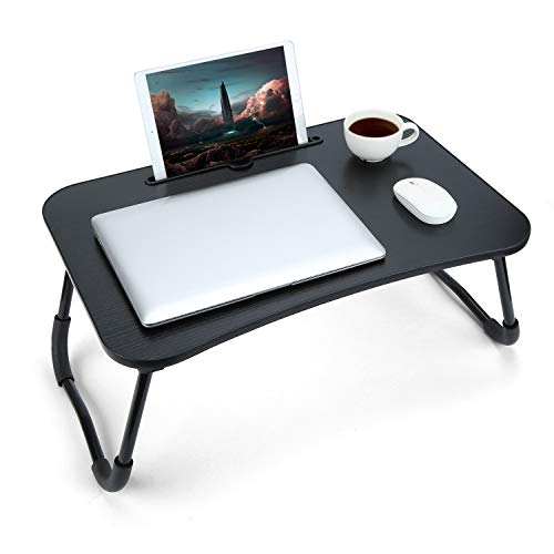 Bed Tray Table Foldable Laptop Bed Desk with Tablet Phone Holder Low Floor Table for Eating Breakfast Play Game Watch Read in Bedroom Living Room,Kids/Adults/Students-Black