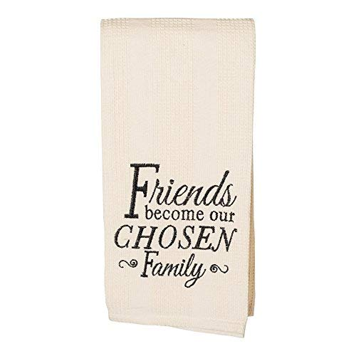 Friends Become Chosen Family 19 x 28 All Cotton Embroidered Waffle Kitchen Towel