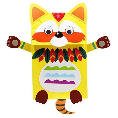 TOYANDONA Kit de Artesanía de Marionetas de Mano Diseño de Coon Marioneta de Mano de Animales Niños Artesanía de Fieltro DIY Haz Tu Propia Marioneta para Niños de Bricolaje Niños