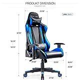 GTPLAYER Gaming Stuhl Bürostuhl Gamer Ergonomischer Stuhl Einstellbare Armlehne Einteiliger Stahlrahmen Einstellbarer Neigungswinkel Blau - 6