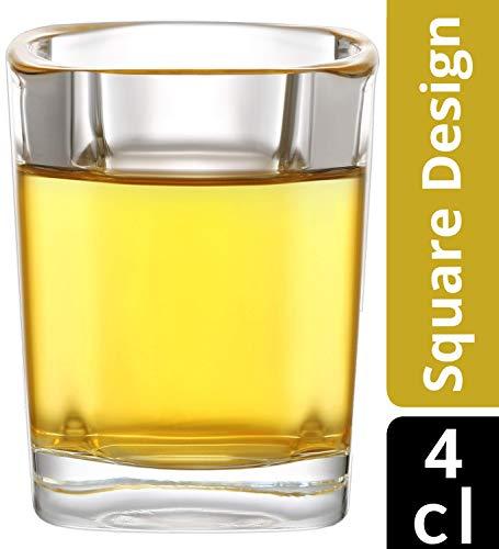 12 Schnapsgläser Set Glas 4cl Eckig - Standfest - Spülmaschinenfest - Gläser für Tequila Wodka