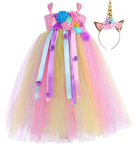 Tutu Dreams Girls Unicorn Princess Party Tutu Dress Elegant Wedding Birthday Halloween Prom Ball Gown Party Plus Size (Pink-Rainbow, XX-Large)