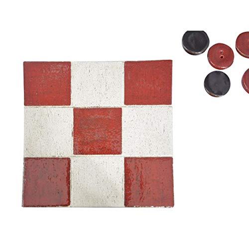 Hogar y Mas 3 en Raya de Cerámica Natural, 3 en Raya Decorativo Artesanal 100% a Mano, Juegos Habilidad/Educativos, 6piezas, 16,5x16,5x2cm - Rojo