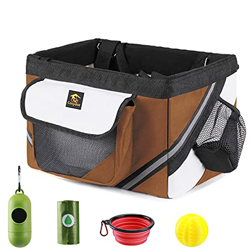 Cosydot Pet Carrier for Bike Basket for Small Dog Cat Puppy, Updated Solid Bottom Plate Soft Side Carrier, Foldable, Large Side Pocket, with Bowl, Waste Bag & Dispenser, Chew Toy