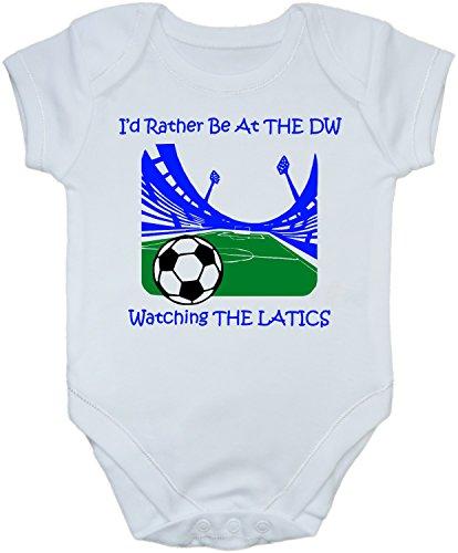 Hat-Trick Designs - Wigan Athletic Football Baby Babygrow/Vest/Bodysuit/Romper-0-3M-White-I'D Rather Be-Unisex Gift