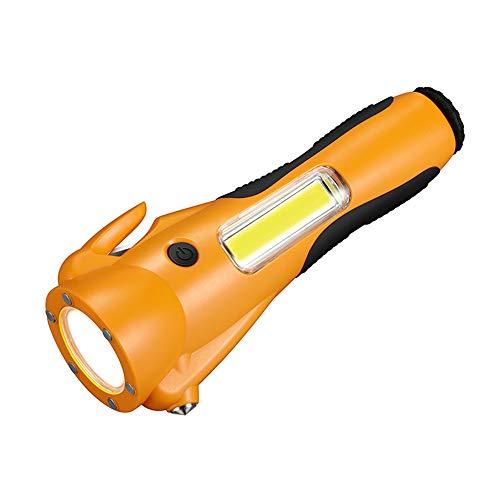VISLONE Multifunción COB LED Linterna Seguridad Linterna de Emergencia Super Brillante para Acampar Senderismo Mochilero Pesca (Naranja)