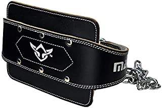 MANI Leather 6 inch Weight Lifting Pull Up Belt Dip Belt with Heavy Duty Steel Chain for Powerlifting, Crossfit, Bodybuild...