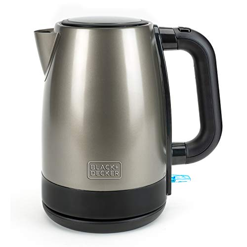 BLACK+DECKER BXKE2201E - Bouilloire électrique 2200W, 1,7L, Arrêt automatique, Sans fil, Inox anti-trace de doigts