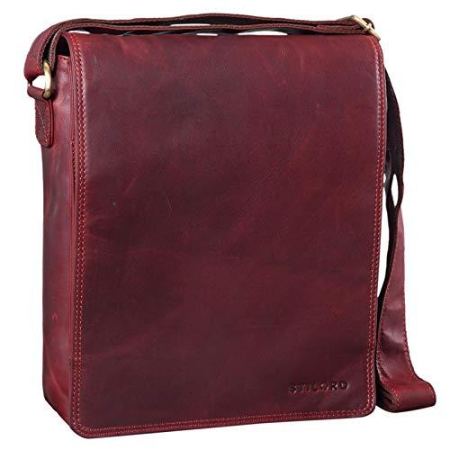 STILORD 'Lars' Vintage Umhängetasche Leder Herren für 13,3 Zoll Tablet MacBooks und iPad Schultertasche Herrentasche Messenger Bag Echtleder, Farbe:Rosso