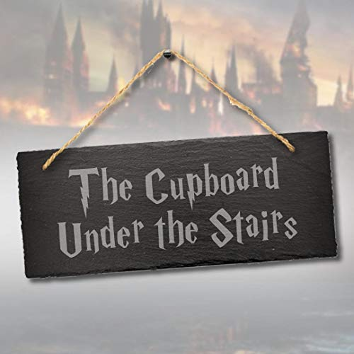 Tamengi The Cupboard Under The Stairs Humorous Engraved Hanging Slate Home Decor Plaque Sign