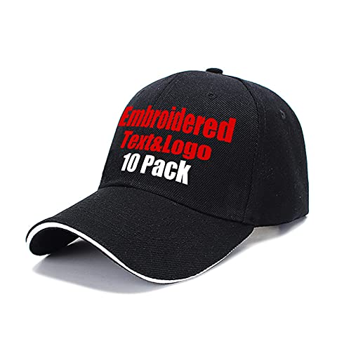 MEINAMI 10 Paquetes Gorra de béisbol Personalizada 100% algodón Sombrero Bordado Personalizado Gorra