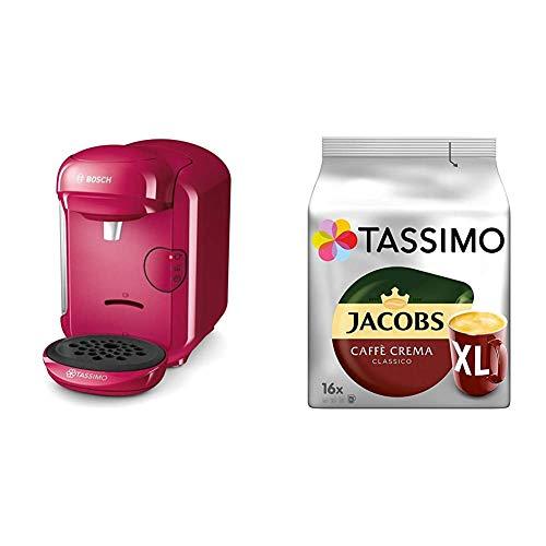 Bosch TAS1401 Tassimo Vivy2 Kapselmaschine, über 70 Getränke, vollautomatisch, geeignet für alle Tassen, kompakte Größe + Tassimo Kapseln Jacobs Caffè Crema + Latte Macchiato + Milka + Probierbox