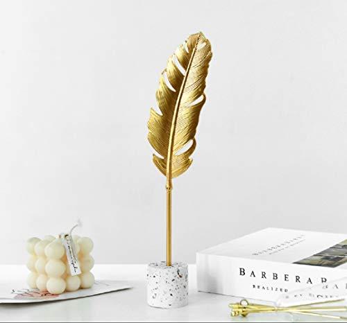 Omela Deko Figuren Gold Feder aus Metall Modern Dekofigur Klein Deko Objekt Tischdeko für Wohnzimmer Outside Garten Modern Skulptur Accessoires Geschenkidee 4 x 8 x 26 cm
