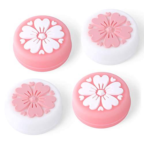 Tscope Sakura Flower Daumengriffkappen für Nintendo Switch & Lite Joy-con, Joystick, süße Silikonhüllen für NS-Controller-Zubehör pink / weiß