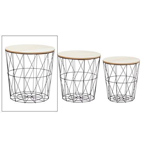 Meinposten. Beistelltisch Sofatisch Tisch mit Stauraum Couchtisch Korb Metall Holz Nachttisch schwarz (Groß)