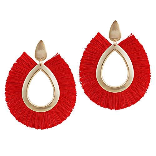 FUVOYA Pendientes con Borla Forma de Abanico Pendientes Colgantes étnicos Pendiente Bohemio con Flecos (Red)