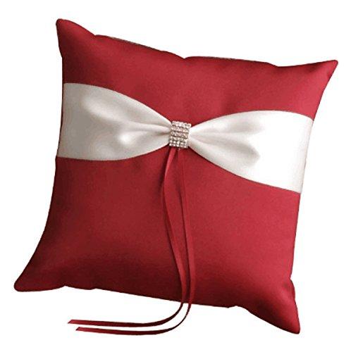 Wedding Ring Pillow Wedding Ring Cushion Ring Bearer Pillow,White & Red,7.8 7.8 inch