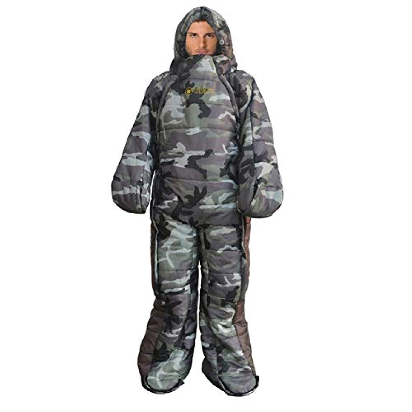 ラッシュ国旗幻滅するPQZATX キャンプ寝袋 快適なヒューマノイド 防風暖かい寝袋 屋外キャンプハイキング 冬の冒険旅行機器5℃-0℃-M