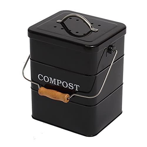ayacatz Poubelle à Compost en Acier Inoxydable pour comptoir de Cuisine, 6 L Seau à Compost avec Couvercle,Comprend Un Filtre à Charbon–Noir