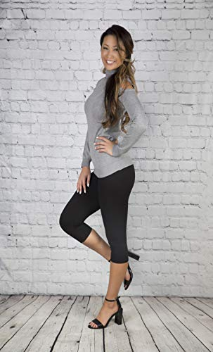 SATINA High Waisted Super Soft Capri Leggings - 20 Colors - Reg & Plus Size (One Size, Black)