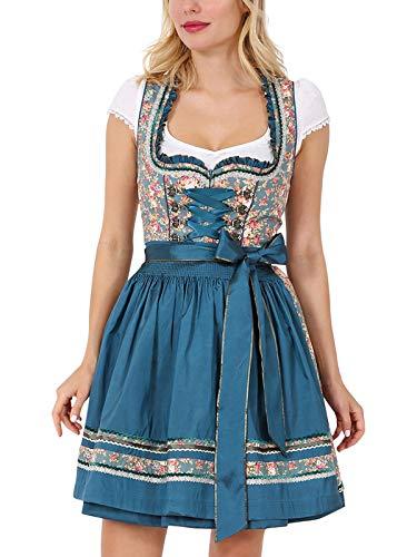 Krüger Damen Trachten Dirndl kurz, Modell: Garden Eden, über Knie, Art.-Nr. 045695-0-0055, 40, blau